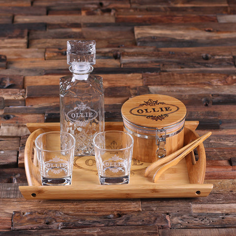 Glass Whiskey Decanter Set - Ice Bucket with Tongs, Whiskey Glasses, and Wood Tray - Rion Douglas Gifts - 1