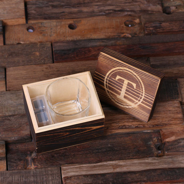 Personalized Whiskey Scotch Glass Set, Stainless Steel Ice Cubes with Wood Box - Rion Douglas Gifts - 2