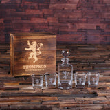 Glass Whiskey Decanter with Global Bottle Lid, 4 Whiskey Glasses and Wood Box – A - Rion Douglas Gifts - 2