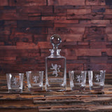 Glass Whiskey Decanter with Global Bottle Lid, 4 Whiskey Glasses and Wood Box – A - Rion Douglas Gifts - 3