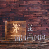 Glass Whiskey Decanter with Global Bottle Lid, 4 Whiskey Glasses and Wood Box – A - Rion Douglas Gifts - 1