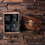 Personalized Whiskey Decanter with Round Bottle Lid, 2 Whiskey Glasses and Wood Box - Rion Douglas Gifts - 3