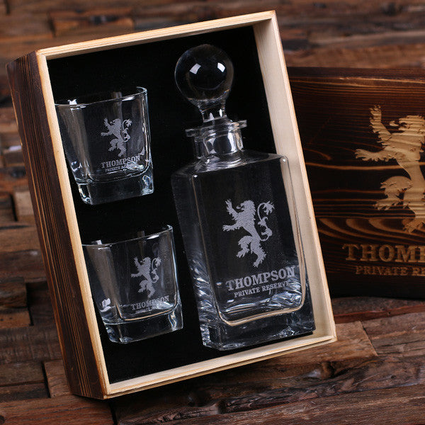 Personalized Whiskey Decanter with Round Bottle Lid, 2 Whiskey Glasses and Wood Box - Rion Douglas Gifts - 1
