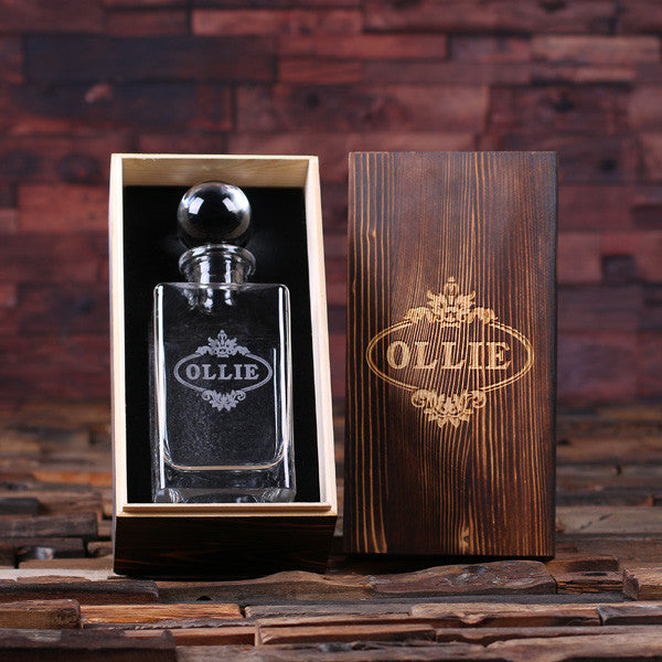 Personalized Whiskey Decanter with Round Glass Bottle Lid and Wood Box - Classic - Rion Douglas Gifts - 1