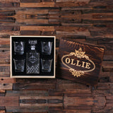 Personalized Whiskey Decanter, 4 Whiskey Glasses and Wood Box - Rion Douglas Gifts - 2