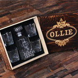 Personalized Whiskey Decanter, 4 Whiskey Glasses and Wood Box - Rion Douglas Gifts - 3