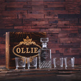 Personalized Whiskey Decanter, 4 Whiskey Glasses and Wood Box - Rion Douglas Gifts - 4