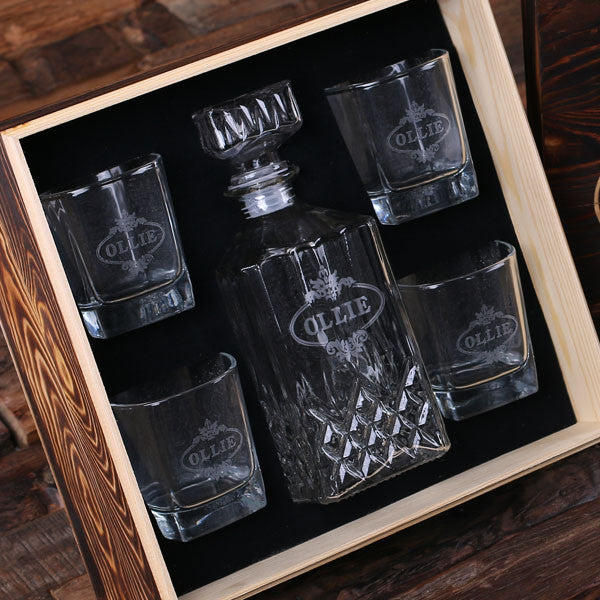 Personalized Whiskey Decanter, 4 Whiskey Glasses and Wood Box - Rion Douglas Gifts - 1