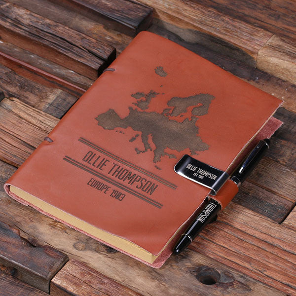 Leather Diary Sketchbook & Pen with Pen Holder - Rion Douglas Gifts - 4