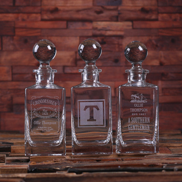 Personalized Whiskey Decanters with Round Bottle Lid - Rion Douglas Gifts - 1
