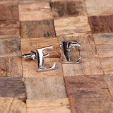 "Initials ""A-Z"" Personalized Polished Stainless Steel Men's Classic Cuff Link Cufflink with Wood Box - Rion Douglas Gifts - 7"