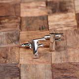 "Initials ""A-Z"" Personalized Polished Stainless Steel Men's Classic Cuff Link Cufflink with Wood Box - Rion Douglas Gifts - 8"