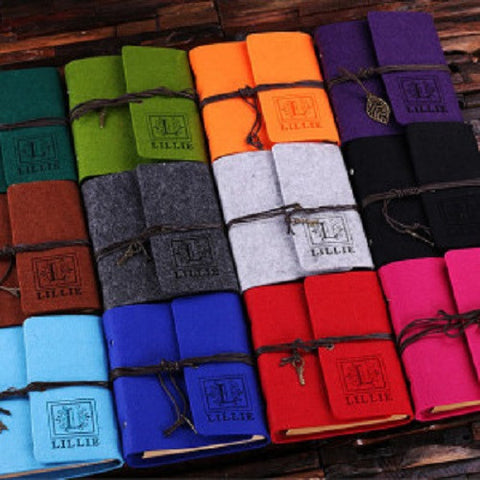 A Personalized Felt Notebook/Journal in 12 Vibrant Colors - Rion Douglas Gifts - 1