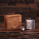 Personalized Stainless Steel Flask – 5 oz. with Wooden Gift Box - Rion Douglas Gifts - 5