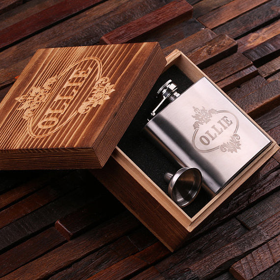 Personalized Stainless Steel Flask – 5 oz. with Wooden Gift Box - Rion Douglas Gifts - 1