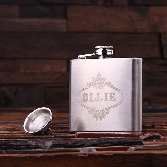 Personalized Stainless Steel Flask – 5 oz. with Wooden Gift Box - Rion Douglas Gifts - 2