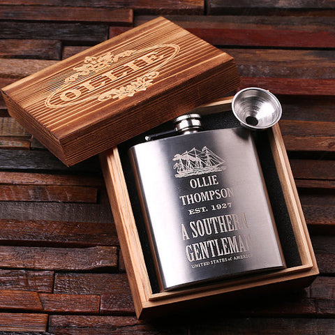 Personalized Stainless Steel Flask – 7 oz. with Wooden Gift Box - Rion Douglas Gifts - 12