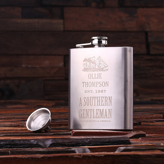 Personalized Stainless Steel Flask – 7 oz. with Wooden Gift Box - Rion Douglas Gifts - 1