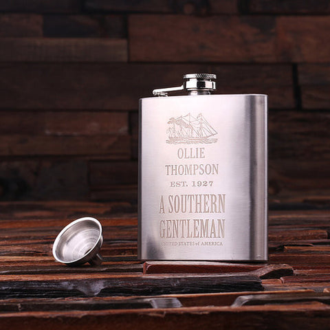 Personalized Stainless Steel Flask – 7 oz. - Rion Douglas Gifts - 1