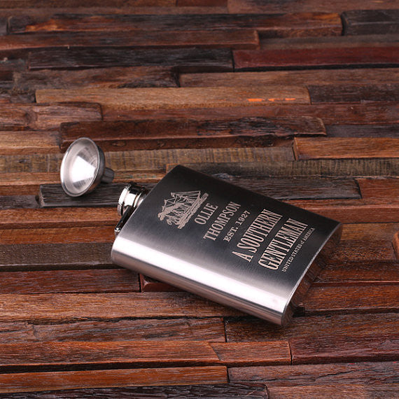 Personalized Stainless Steel Flask – 7 oz. with Wooden Gift Box - Rion Douglas Gifts - 2