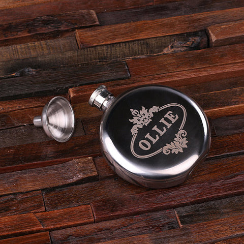 Personalized Stainless Steel Flask – 5 oz. Round - Rion Douglas Gifts - 2