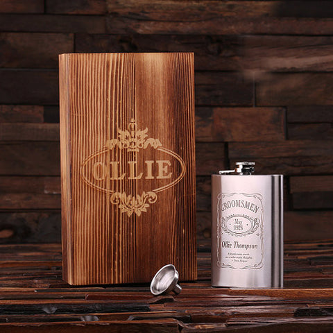Personalized Stainless Steel Flask – 8 oz. with Wooden Gift Box - Rion Douglas Gifts - 1