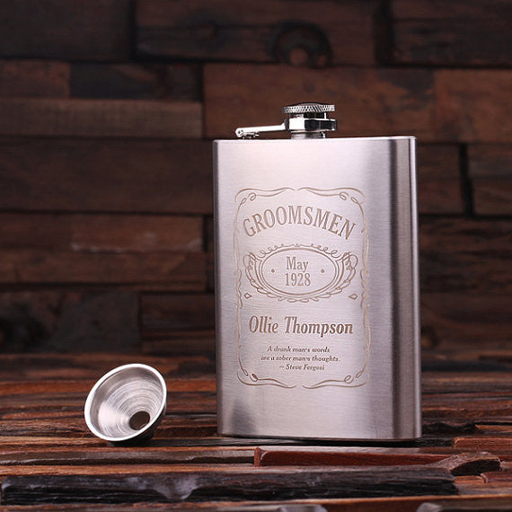 Personalized Stainless Steel Flask – 8 oz. with Wooden Gift Box - Rion Douglas Gifts - 2