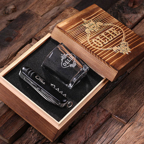 Personalized 3 pc. Gift Set – Shot Glass, Black or Ruby Red Pocket Knife, and Keepsake Gift Box