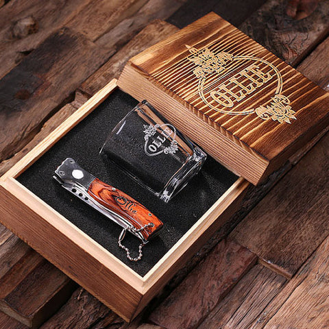 Personalized 3 pc. Gift Set – Shot Glass, Pocket Knife, and Keepsake Gift Box