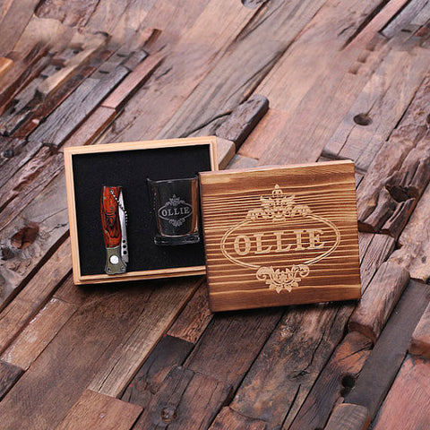 Personalized 3 Pc Gift Set Shot Glass Pocket Knife