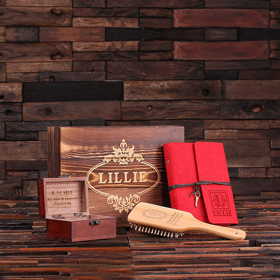 Personalized Gift Set for Her w/Keepsake Box – Paddle Brush, Journal, Treasure Box - Rion Douglas Gifts - 1