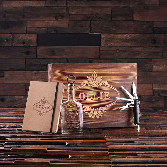 Personalized 4 pc Men's Gift Set w/Keepsake Box – Flask, Knife, Journal - Rion Douglas Gifts - 1