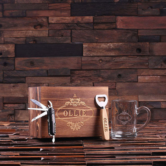 Personalized 4 pc Men's Gift Set w/Keepsake Box – Beer Mug, Bottle Opener, Swiss Knife - Rion Douglas Gifts - 1