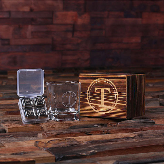 Personalized Whiskey Scotch Glass Set, Stainless Steel Ice Cubes with Wood Box - Rion Douglas Gifts - 1
