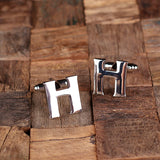 "Initials ""A-Z"" Personalized Polished Stainless Steel Men's Classic Cuff Link Cufflink with Wood Box - Rion Douglas Gifts - 10"