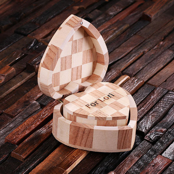 Personalized Wood Hearts, Small, Large or Nested Set of 2 - Rion Douglas Gifts - 1