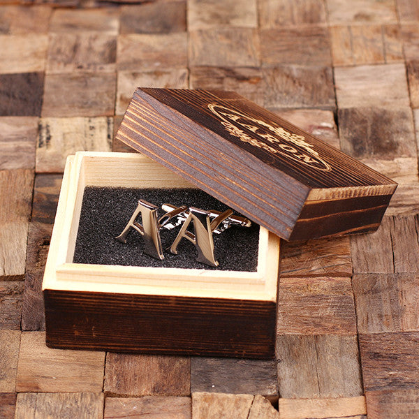 "Initials ""A-Z"" Personalized Polished Stainless Steel Men's Classic Cuff Link Cufflink with Wood Box - Rion Douglas Gifts - 1"