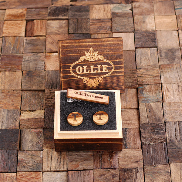 Personalized Men's Classic Round Wood Cuff Link and Wood Tie Clip with Box, White Oak - Rion Douglas Gifts - 1
