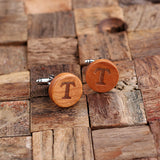 Personalized Men's Classic Round Wood Cuff Link and Wood Tie Clip with Box, Cherry Wood - Rion Douglas Gifts - 3