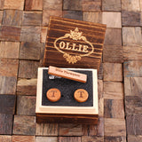 Personalized Men's Classic Round Wood Cuff Link and Wood Tie Clip with Box, Cherry Wood - Rion Douglas Gifts - 1
