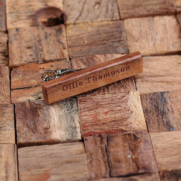 Personalized Men's Classic Wood Tie Clip Mahogany with Optional Wood Gift Box - Rion Douglas Gifts - 2
