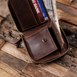Men's Personalized Coin Wallet Zipped Closed Engraved Leather Bifold with Optional Box - Rion Douglas Gifts - 4