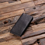 Black Bi-fold Unisex Long Wallet Personalized with Optional Box - Rion Douglas Gifts - 2