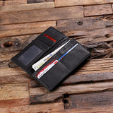 Black Bi-fold Unisex Long Wallet Personalized with Optional Box - Rion Douglas Gifts - 3