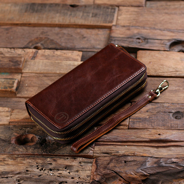 Women's Clutch Brown Genuine Leather Long Zipper Wallet with Optional Box - Rion Douglas Gifts - 2