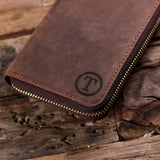 Personalized Long Wallet Unisex Zipper Closure Leather Cell Phone Wallet with Box with Optional Box - Rion Douglas Gifts - 6