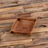 Personalized Engraved Collapsible Leather Valet Tray Coin Dish, Holder, Tray with Box - Rion Douglas Gifts - 2