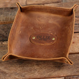 Personalized Engraved Collapsible Leather Valet Tray Coin Dish, Holder, Tray with Box - Rion Douglas Gifts - 4