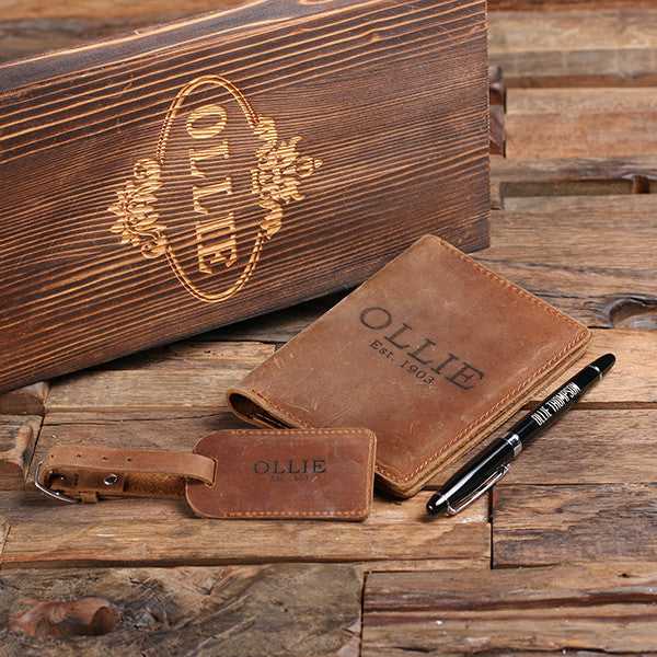 Personalized Engraved Passport Holder, Luggage Tag, Pen and Box - Rion Douglas Gifts - 1