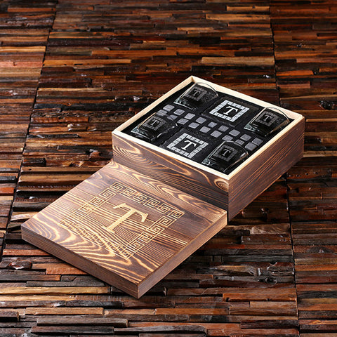 4 Slate Coasters, 4 Whiskey Glasses and 18 Sipping Stones with Engraved or Printed Wood Box - Rion Douglas Gifts - 1
